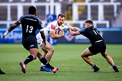 James Short of Exeter Braves takes on Adam Radwan of Newcastle Falcons A-Team and George Wacokecoke of Newcastle Falcons A-Team - Mandatory by-line: Robbie Stephenson/JMP - 06/05/2019 - RUGBY - Kingston Park Stadium - Newcastle upon Tyne, England - Newcastle Falcons 'A' v Exeter Braves - Premiership Rugby Shield Semi-Final