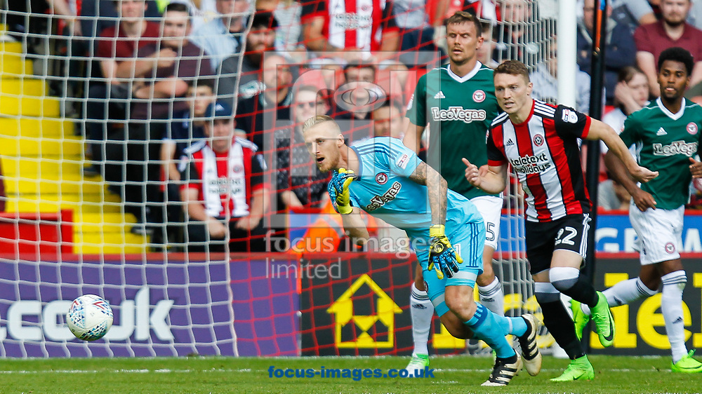Daniel Bentley of Brentford, Caolan Lavery of Sheffield United and Andreas Bjelland of Brentford during the Sky Bet Championship match between Sheffield United and Brentford at Bramall Lane, Sheffield<br /> Picture by Mark D Fuller/Focus Images Ltd +44 7774 216216<br /> 05/08/2017