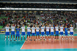 Players of Slovenia during friendly volleyball match between national teams of Slovenia and Brasil in Arena Stozice on 9. September 2015 in , Ljubljana, Slovenia. Photo by Matic Klansek Velej / Sportida
