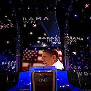'Barack Obama in his own words' is shown at the  Democratic National Committee (DNC) Convention on the first day at the Pepsi Center in Denver, Colorado (CO) Monday, Aug. 25, 2008.  ..Photo by Khue Bui