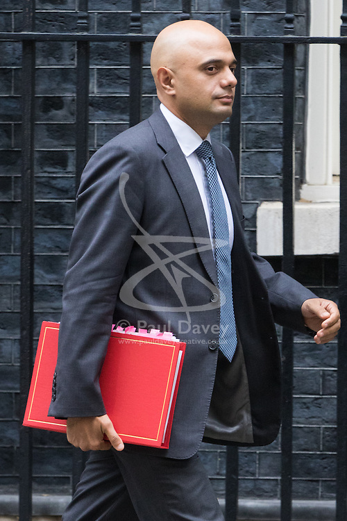 Downing Street, London, October 25th 2016. Communities and Local Government Secretary Sajid Javid leaves10 Downing Street following the weekly cabinet meeting and the announcement that the construction of a third runway at Heathrow Airport has initial government approval.