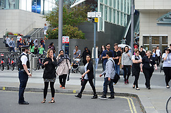 © Licensed to London News Pictures. 08/07/2015London, UK. Westfield London Shopping Centre is evacuated after an un expoloded World War Two bomb is found on a nearby construction site. Photo credit : Simon Jacobs/LNP