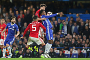 Matteo Darmian Defender of Manchester United battles with Chelsea's Michy Batshuayi during the The FA Cup quarter-final match between Chelsea and Manchester United at Stamford Bridge, London, England on 13 March 2017. Photo by Phil Duncan.