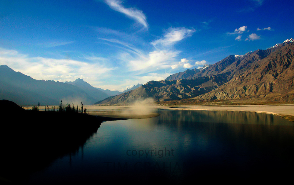 River Indus scene in the valleys of the Karokoram Mountains, Skardu Valley, North Pakistan