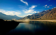 River Indus scene in the valleys of the Karokoram Mountains, Skardu Valley, North Pakistan