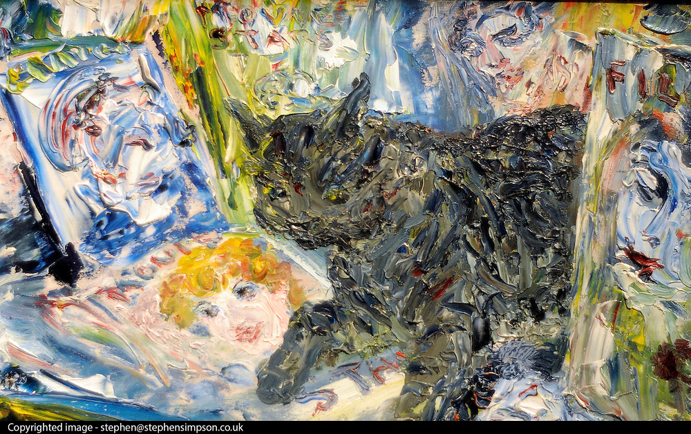 ©London News pictures. 07.02.2011. Penny Day, Head of Irish Art at Bonhams, looks at a a painting by Jack Butler Yeates entitled 'Cat among the Stars. Estimate: £50,000 - 70,000. . Irish Art on display at Boham's today (07/02/11) ahead of its sale. Highlights include a portrait of Francis Bacon, one of Britain's leading 20th century artists, painted by one of his friends, Louis Le Brocquy. The watercolour, titled Image of Francis Bacon No 18, is estimated to sell for £60,000 to £80,000. The sale is held on February 8th. Bonhams, 101 New Bond Street, London, UK.. Picture Credit should read Stephen Simpson/LNP