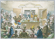 New Discoveries in Pneumatics'. A popular demonstration at the Royal Institution, London, given by Thomas Garnett (1766-1802) assisted by Humphry Davy (1779-1829).  Looking on at the right is Benjamin Thompson, Count Rumford (1753-1814). Cartoon by James Gilray.