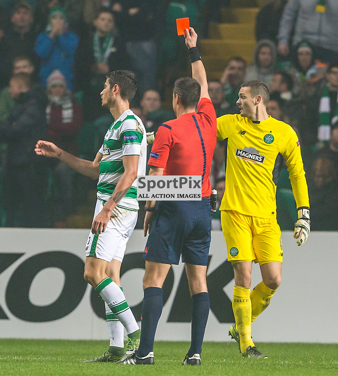 Nir Bitton is sent off for Celtic during the UEFA Europa League group stage match between Celtic and Molde FK (c) ROSS EAGLESHAM | Sportpix.co.uk