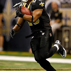 December 4, 2011; New Orleans, LA, USA; New Orleans Saints running back Pierre Thomas (23) against the Detroit Lions prior to kickoff of a game at the Mercedes-Benz Superdome. Mandatory Credit: Derick E. Hingle-US PRESSWIRE