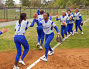 Hampton University Lady Pirates before their first game of their  doubleheader split against Morgan State University at the Lady Pirates Softball Complex on the campus of Hampton University in Hampton, Virginia.  (Photo by Mark W. Sutton)