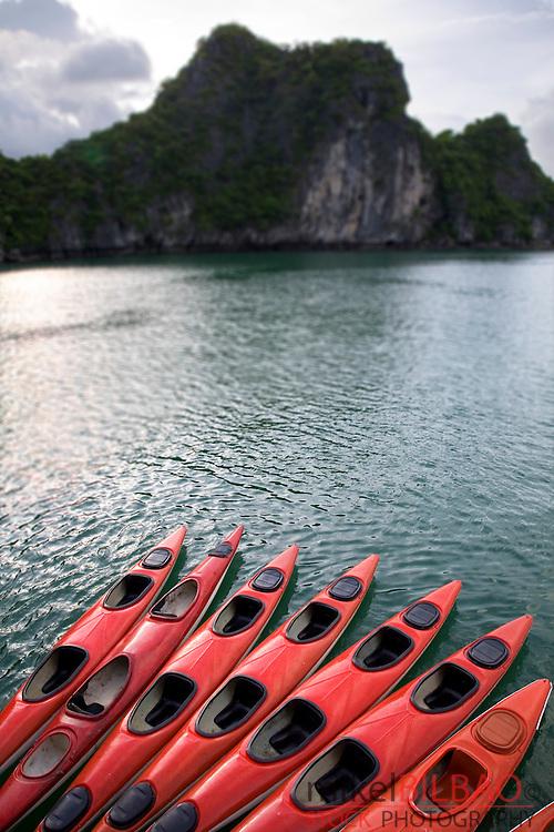 Ha Long Bay and kayaks. <br /> Quang Ninh province, Vietnam.