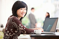 Asian businesswoman working from home