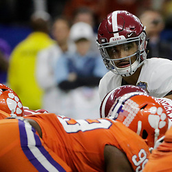 Jan 1, 2018; New Orleans, LA, USA; Alabama Crimson Tide quarterback Jalen Hurts (2) looks over the line of scrimmage during the third quarter against the Clemson Tigers in the 2018 Sugar Bowl college football playoff semifinal game at Mercedes-Benz Superdome. Mandatory Credit: Derick E. Hingle-USA TODAY Sports