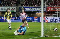 ROTTERDAM - Sparta Rotterdam - Vitesse , Voetbal , Halve Finale KNVB Beker , Seizoen 2016/2017 , Sparta stadion het Kasteel , 01-03-2017 ,  Sparta keeper Roy Kortsmit faalt en kan de 0-1 niet tegen houden