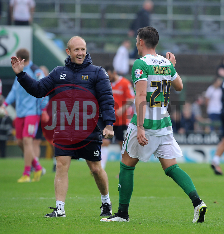 Darren Way, Coach of Yeovil Town and Connor Roberts of Yeovil Town celebrate victory - Photo mandatory by-line: Harry Trump/JMP - Mobile: 07966 386802 - 22/08/15 - SPORT - FOOTBALL - Sky Bet League Two - Yeovil Town v Luton Town - Huish Park, Yeovil, England.