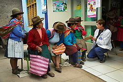 (From left to right) Sebastiana Huaman&iacute; Humpre, Antolina Sayre, Elena Gamarra, Noima Huallpayunca, and Cirila Amachi Huaman&iacute; wait in line to see resident Will Galvin outside a small clinic on the outskirts of Cusco. Galvin, a Medical College of Georgia student, works with CerviCusco, a nonprofit organization dedicated to reducing the spread of cervical cancer in Peruvian women, who have one of the highest rates of cervical cancer in the world. Although culturally rich, many women lack the financial means and geographic access to preventative healthcare enjoyed by others in more developed nations. Sadly, cervical cancer is universally preventable. <br /> Healthcare in Peru.