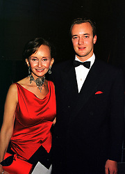 YVONNE, MARCHIONESS OF BRISTOL and her son the MARQUESS OF BRISTOL,  at a party in London on 29th January 2000.OAM 50