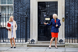© Licensed to London News Pictures. 21/02/2017. London, UK. Education Secretary JUSTINE GREENING and Justice Secretary LIZ TRUSS leave after a cabinet meeting in Downing Street, London on Tuesday, 21 February 2017. Photo credit: Tolga Akmen/LNP