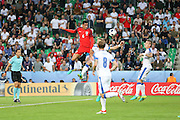 England Defender Chris Smalling heads at goal during the Euro 2016 Group B match between Slovakia and England at Stade Geoffroy Guichard, Saint-Etienne, France on 20 June 2016. Photo by Phil Duncan.