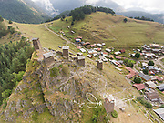 Aerial view of the Keselo tower houses that overlook the village of Omalo, Tusheti, Georgia.