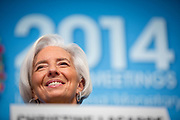 The global economy has picked up but bold action is needed to surmount serious dangers and deliver the benefits more evenly, said Christine Lagarde, Managing Director in the International Monetary Fund at a press briefing Thursday during the IMF Spring meetings.