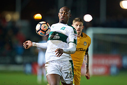 NEWPORT, WALES - Wednesday, December 21, 2016: Plymouth Argyle's Paul Garita in action against Newport County during the FA Cup 2nd Round Replay match at Rodney Parade. (Pic by David Rawcliffe/Propaganda)