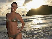 Young Woman at Beach at Sunset