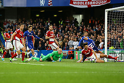 Diego Costa of Chelsea slides into the penalty box - Mandatory by-line: Jason Brown/JMP - 08/05/17 - FOOTBALL - Stamford Bridge - London, England - Chelsea v Middlesbrough - Premier League