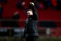 Bristol City Head Coach Lee Johnson celebrates after a 1-0 victory - Rogan/JMP - 18/01/2020 - Ashton Gate Stadium - Bristol, England - Bristol City v Barnsley - Sky Bet Championship.