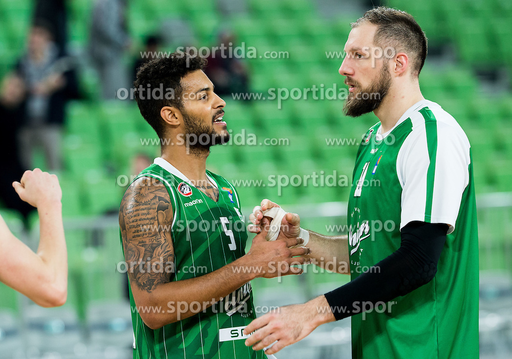 Devin Oliver #5 of KK Union Olimpija and Stevan Milosevic #11 of KK Union Olimpija after the basketball match between KK Union Olimpija Ljubljana and KK mega Leks in 14th Round of ABA League 2016/17, on December 18, 2016 in Arena Stozice, Ljubljana, Slovenia. Photo by Vid Ponikvar / Sportida