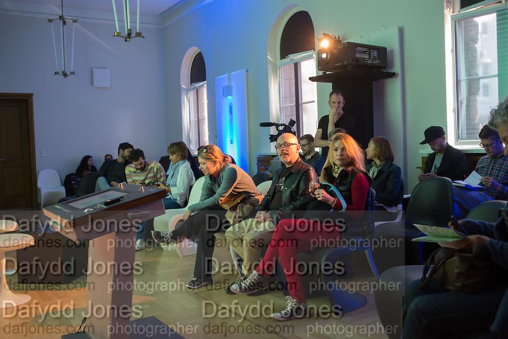 CHUS MARTINEZ; CAROLYN CHRISTOV-BARKARGIEV; VADIM GRIGORIAN, Introduction to art initiative by Absolut Art Bureau new format of Absolut Art Award, By Vadim Grigorian and Carolyn Christov-Bakargiev at Standehaus<br /> Documenta ( 13 ), Kassel, Germany. 14 September 2012.
