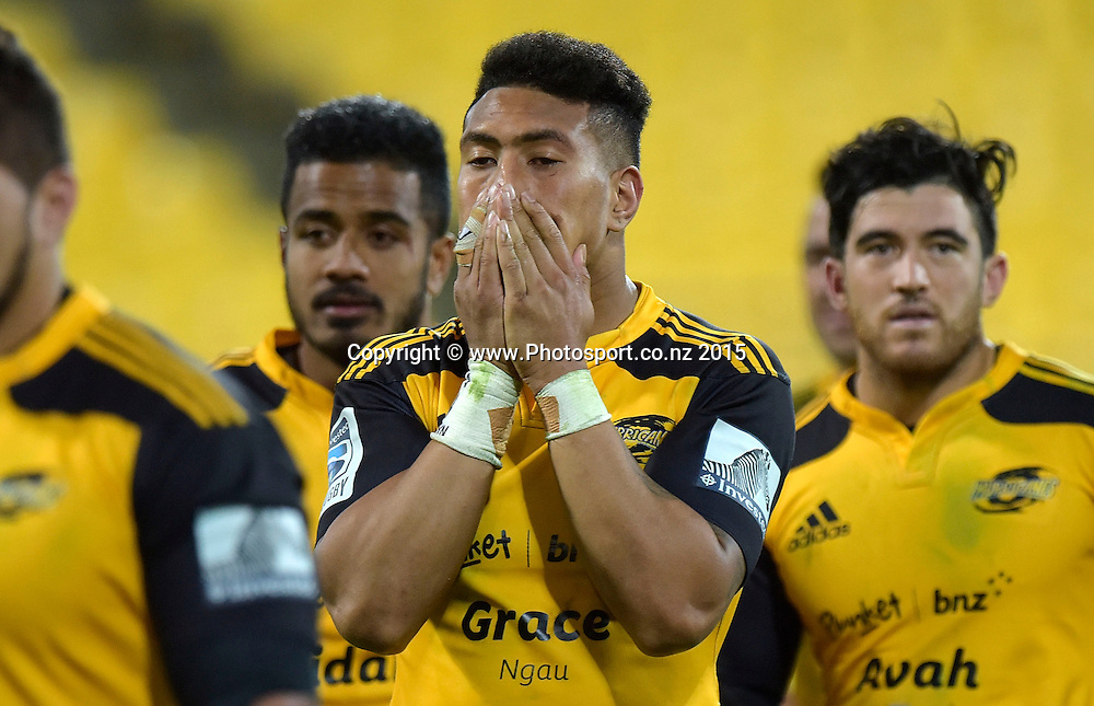 Hurricanes' flank Ardie Savea stands dejected after their loss during the Super Rugby - Hurricanes v Waratahs rugby union match at the Westpac Stadium in Wellington on Saturday the 18th of April 2015. Photo by Marty Melville / www.Photosport.co.nz