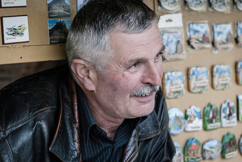This man controlled the gate to an 500 year old castle in southeastern Slovakia. You had to pass through his trinket shop first but really he just wanted to talk