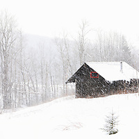 New England winter scenery of a hut during an active snowstorm at the Savoy Mountain State Park in the Berkshires of Western Massachusetts.<br />