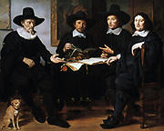 Four Officers of the Amsterdam Guild of Coopers and Winerackers',1657.  Oil on canvas. Gerbrand van den Eeckhout (1621-1674) Dutch Baroque painter. Fashion Sober Tradesmen Dog Fidelity