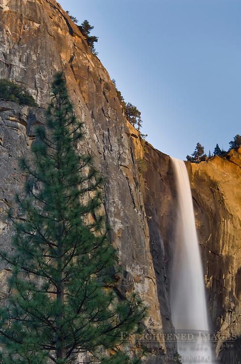 Sunset light on Bridalveil Fall waterfall, Yosemite Valley, Yosemite National Park, California