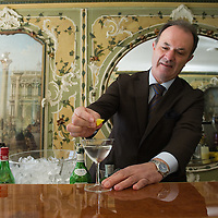 VENICE, ITALY - DECEMBER 02:  The head barman of the Caffe Quadri prepares a Martini Cocktail that is one of their specialities  on December 2, 2011 in Venice, Italy.The Venetian coffee houses have a  long standing history, established at the beginning of 1700 around St. Mark Square have been the centre of cultural meeting and innovations for centuries and served customers like Dickens, Goethe, Casanova and Lord Byron.