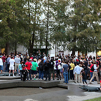 A crowd of about 500 people gather early, prior to an Occupy Orlando public demonstration in support of Occupy Wall Street gatherings across the country, at the Orange County History Center on Wednesday, October 5, 2011 in Orlando, Florida. (AP Photo/Alex Menendez)