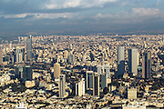 Aerial view of Tel Aviv, Israel looking east