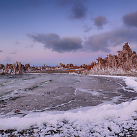 A winter storm blows up waves and salt foam along southern shore of Mono Lake, near Lee Vining, California