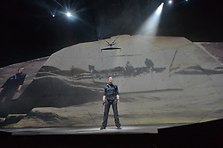 © Licensed to London News Pictures. 06/10/2016. Adventurer BEAR GRYLLS presents his very first Endeavour live arena show featuring a cast of expert aerial artists, stunt crew and state of the art video mapping technology and stunning special effects. Please note this photo cannot be  published or used after Friday 28th October 2016.  London, UK. Photo credit: Ray Tang/LNP