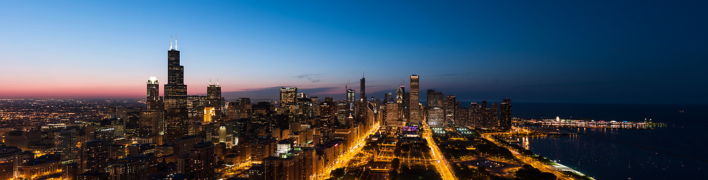 Skyline of downtown Chicago from above the south end of Grant Park