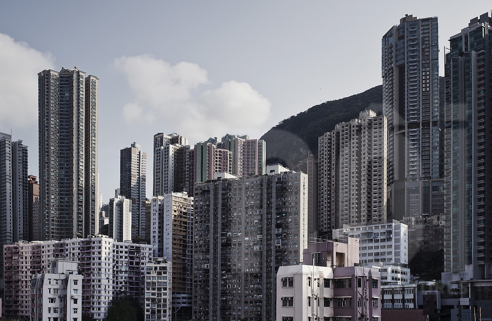 Skyline cityscape scene in Hong Kong, China, Asia. Skyscraper's density is very high and brings a feeling of being in a concrete jungle.