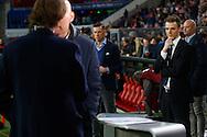 09-04-2016 VOETBAL:PSV:WILLEM II:EINDHOVEN<br /> Persvoorlichter van Willem II Wouter Janssen houdt een oogje in het zeil bij het interview op Fox sports tussen Trainer/Coach Jurgen Streppel van Willem II en Hans Kraay jr<br /> <br /> Foto: Geert van Erven
