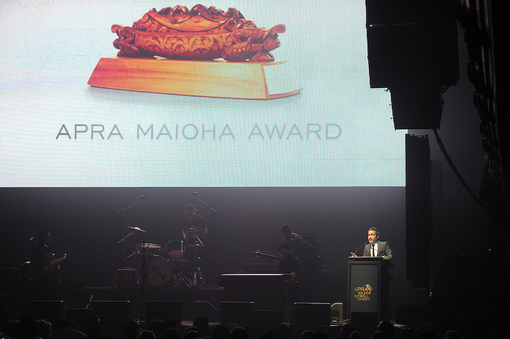 Dai Henwood on stage at the APRA Silver Scroll Awards 2012. Auckland Town Hall. 13 September 2012.