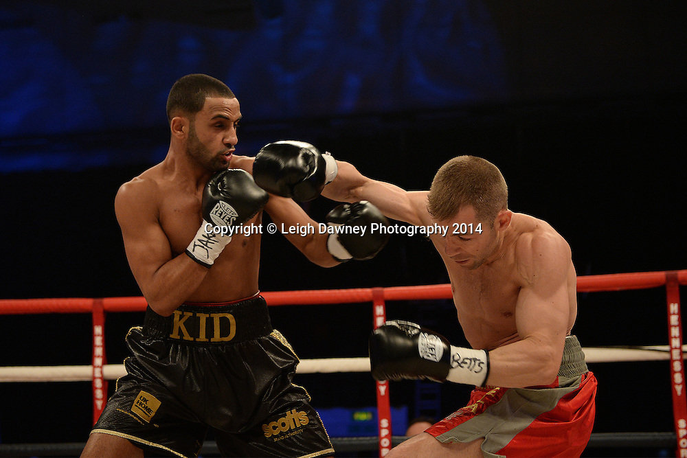 Kid Galahad v Sergio Prado for the vacant EBU European Super Bantamweight Title at  Ponds Forge Arena, Sheffield on the 22nd March 2014. Hennessy Sports. © Credit: Leigh Dawney Photography 2014.