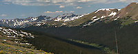 Rocky Mountain National Park Panorama on Trail Ridge Road. Images taken with a Nikon D200 and 105 mm f/2.8 VR macro lens (ISO 100, 105 mm, f/11, 1/160 sec). Composite of five images using Auto Pano Giga 2.5 and the DeHaze Plugin. Additional processing with Focus Magic, Nik Define, and Photoshop CS5.