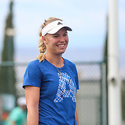 Caroline Wozniacki practices at the Indian Wells Tennis Garden in Indian Wells, California Friday, March 11, 2016.<br /> (Photo by Billie Weiss/BNP Paribas Open)