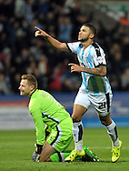 Nahki Wells of Huddersfield Town his goal against Milton Keynes Dons during the Sky Bet Championship match at the John Smiths Stadium, Huddersfield<br /> Picture by Graham Crowther/Focus Images Ltd +44 7763 140036<br /> 20/10/2015