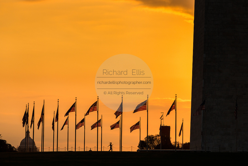 Flags around the Washington Monument flutter silhouetted by sunset in Washington, DC.